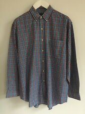 G.H. BASS & CO BLUE CHECK BUTTON DOWN COTTON SHIRT - MEDIUM