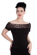 Hell Bunny Panthera 50s Leopard Print Off Shoulder Top