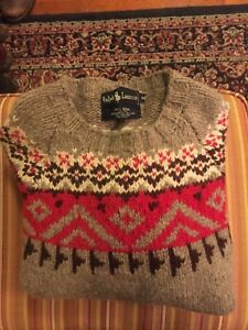 Vintage Ralph Lauren Polo Mens Handknit Wool Sweater Very Thick. Vintage Sz M.