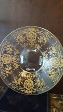 Glastonbury Lotus Bridal Rose Bouquet Gold Etched Footed Bowl
