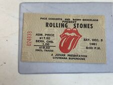 Rolling Stones Ticket Stub 1981 Louisiana Superdome  Original