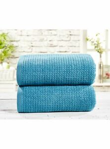 Pair of Extra Large Waffle Bath Sheets, 100% cotton, Lagoon Teal Blue, 140cm