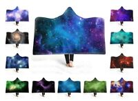Universe Stars Nebula Aurora Northern Light Fleece Hooded Blanket Throw Cloak