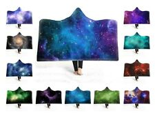 Galaxy Stars Nebula Aurora Northern Light Print Fleece Hooded Blanket Sofa Throw