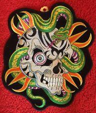Large Skull Snake Biker Patch Sew on Vest Jacket Embroidered Looks Bad!