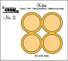 Crealies X-tra Fold Open Die - 4 Circles Double Stitch 61 x 61 mm / Xtra08