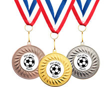 10 x Football Man Of The Match Medals + Ribbons High Quality Free Delivery