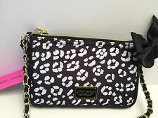 Betsey Johnson XBody Messenger Bag *Black White leopard Shoulder Purse *New