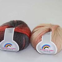 Hot 2Balls*50g Soft Cashmere Wool Rainbow Wrap Shawl DIY Hand Knitwear Yarn 03
