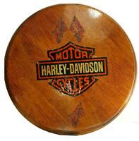 Vintage Walnut Serving Tray Bar Plate Harley Davidson Confed Flag Sticker Print
