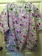 Expo Scrubs Valentine Ladies Sz 1X Plus Size Uniform Top Hearts LOVE HUGS
