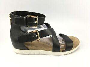 Michael Kors Ankle Strap Black Leather Strappy Sandal Back zip Fashion Sz 9.5 M