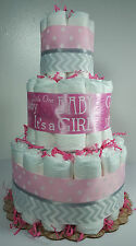 3 Tier Diaper Cake Pink Silver Chevron It's a Girl Baby Shower Centerpiece