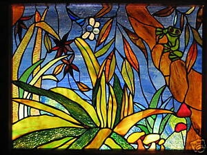 RAINFOREST & RED EYED GREEN TREE FROG Custom Hand Crafted Stained Glass Window
