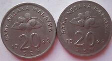 Malaysia 20 sen 1993 coin 2 pcs