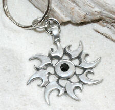 CHAOS STAR BLACK CRYSTAL Pewter KEYCHAIN Key Chain Ring