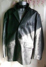 """fab unisex Black leather jacket by Gap.42-44""""chest, lined,good condition"""