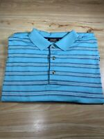 HALEY SIGNATURE Mens Turquoise Striped Short Sleeve Golf Polo Shirt Size L