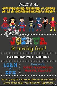 Personalised Superhero Batman/Spiderman/Superman/Ironman Birthday Invitation