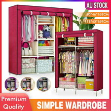 Portable Closet Wardrobe Clothes Storage Cabinet Organizer With Shelves Hanging