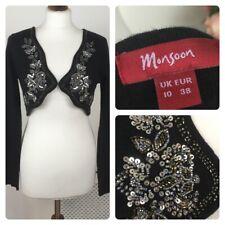 Monsoon black party embellished bolero shrug long sleeve 10 medium wool cashmere