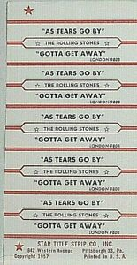 "JUKEBOX TITLE STRIP SHEET - THE ROLLING STONES ""As Tears Go By"" London 9808"
