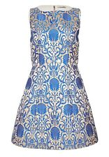 Alice + Olivoa Carrie Damast Jacquard Dress Blue Silver Size 8 NWT