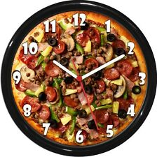 Pizza Wall Clock Personalized Garbage Pizza Humorous Man Cave Den Rec Room Decor