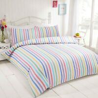 "Rapport ""Candy Stripe"" 100% Brushed Cotton Flannelette Duvet Cover Bedding Set"