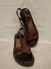 Shoes Womens Dockers Buckle Sandals Brown Size 6.5 M Wedge Heel Leather Upper
