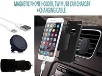 Car Charger with Magnetic Phone Holder and Type C Cable For TECNO Pouvoir 3 Plus