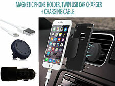 IN CAR MAGNET PHONE HOLDER✔DUAL CAR CHARGER+TYPE-C CABLE✔HTC U11
