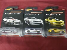 LOT OF 3 ASSORTED HOTWHEELS CAMARO FIFTY DIECAST TOY CARS COLLECTIBLES 4 6 & 8