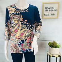 Chicos Women Side Tie Paisley Top Multicolor Stretchy Knit Petite Size 1P | MP
