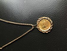 """22KT FINE GOLD 1/10 OZ LIBERTY COIN WITH 14KT ROPE FRAME PENDANT w/18""""chain,10g"""