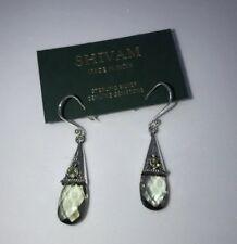 Shivam Made in India .925 Sterling Silver Green Amethyst Peridot Earings