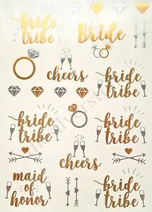Tattoos Gold Silver Bride Tribe Maid of Honour Ring Wedding Hen Do Night Party