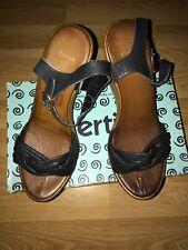 Bertie Black Leather Platform Sandal Ladies UK Size 6