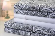Bibb Paisley 1200 Thread Count Cotton Rich 6 Piece Bed Sheet Set - FULL BLACK