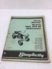 Simplicity Parts Manual - Models 7012, 16 & 18 Hydrostatic