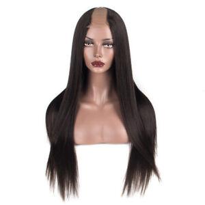 Yaki Straight Human Hair Wigs Virgin Peruvian Remy Hair U Part Wigs Middle Upart