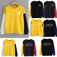 Women Color Block Long Sleeve Letter Print O-Neck Sweatshirt Pullover Top Blouse