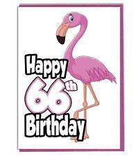 Pink Flamingo 66th Birthday Card - Ladies - Daughter - Grandaughter - Friend