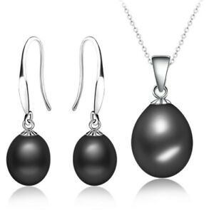 Classic Freshwater Pearl Drop Earring & Necklace Set (Black) Sterling Silver 925