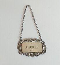 """ORNATE STERLING SILVER EMBOSSED """"SHERRY"""" LIQUOR BOTTLE LABEL, 10 grams"""