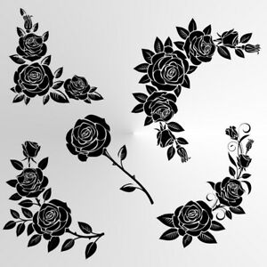 SET OF ROSES Reusable Stencil A3 A4 A5 Art Craft Flowers Valentine's Day / Rose7