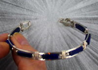 Blue Lapis Lazuli Gemstone Bracelet in Sterling Silver Wire Wrapped Size 6 to 8