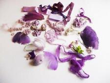 Vintage Lot Millinery Lavender Purple Feathers Ribbons Flowers Trim lace basket