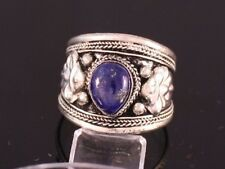 Big Adjustable Tibetan Heart Lapis Lazuli Gemstone Carved Dorje Amulet Ring