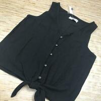 C-253 Madewell texture & Thread tie front button Top BLACK size S new